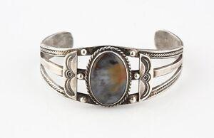 Vintage Navajo Argent Sterling Manchette Bracelet Pétrifié Bois Taille Réglable