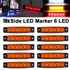 10Pcs Amber 24V 6LED Side Marker Indicators Lights Lamp Bar Truck Trailer Lorry