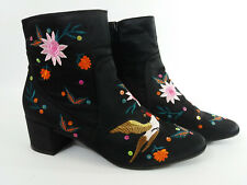 Women's/Teenager Primark Black Satin Embroidered Floral Ankle Boots Size 4