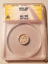 High Grade 1859 Three Cent Silver Graded by ANACS as AU-55 Details-Cleaned!
