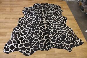 "Giraffe Print on Beige Cowhide Rug - Size (7'x6'8"" Ft)  | Cowhide ON SALE"