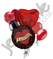 7 pc I Love You Rose Wreath Heart Valentines Day Balloon Bouquet Mine Hug Kiss
