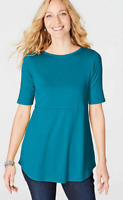 NEW J. JILL S M L XL Boat-neck Shirttail Tee Elbow Sleeve Pima Cotton Teal Blue