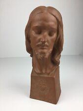 Art Deco Terracotta Herz Jesus Büste Figur Skulptur signiert nummeriert Belgien