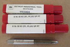3 PCS NEW DETROIT INDUSTRIAL TOOL DI TAP MS32424 5/16-18 H3 2 FLUTE PLUG SP PT