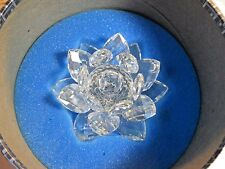 Swarovski® signed SC Block crystal Water Lily Flower Candle Holder 7600 NR 123