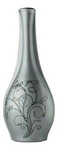 Grey Ceramic Flower Vase 36cm Floral Design Ornament Tall Bottle Neck Decorative