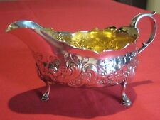 GEORGE III,1772 JOHN LANGLANDS,NEWCASTLE SILVER GILT WASH SAUCE BOAT OR CREAMER.