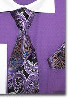 C. Allen Paisley Woven Tie Hanky Gift Set Combo Necktie Pocket Square Plum