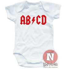 Naughtees Clothing ABCD Babygrow ACDC Style Rock Baby vest suit Rocker Babysuit