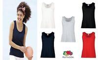 Plain Ladies Women VEST TOP Tank FRUIT OF THE LOOM 100% Cotton Girls Top Vest