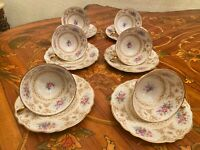 Vintage 6 Cups 6 Saucers German Krautheim Selb Bavaria Porcelain Coffee Set