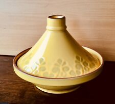 "VSD Portugal 11"" Tagine Yellow Glazed Earthenware Fancy Conical Lid Stew CookPot"