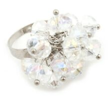 Zest Crystal Style Bead Cluster Ring Silver Size S-M