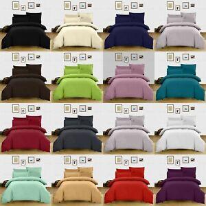 Luxury Plain Duvet Quilt Cover with Pillow Cases Bedding Set Single Double King