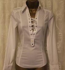 Karen Millen Cotton Tailored Tie Eyelet Formal Stretch Fit Casual Shirt 10 38