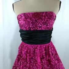 Betsy Johnson Sequin Dress Sz 4 Pink Black Lace Accents Full Skirt Prom