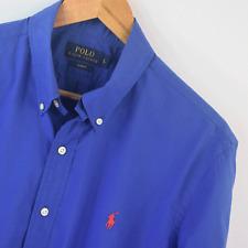 Mens Polo Ralph Lauren Blue Oxford Calce Ajustado Mangas Largas Camiseta Talla L Grande
