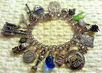 "Vintage ELCO Sterling Silver Charm Bracelet & Charms,70gr, 7.5"" Loaded Hollywood"