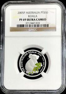 2005 PLATINUM 200 MINTED AUSTRALIA $50 COLORIZED KOALA COIN NGC PROOF 69 UC