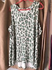 LOGO Lori Goldstein 3x blue and green leopard print cotton tank hi/lo
