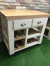 Handmade Oak Kitchen Islands & Carts with Wheels