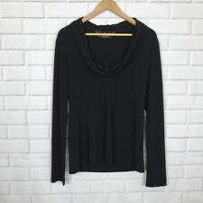 Norma Kamali Women's Size XL Stretch Solid Black Cowl Neck Long Slv Top E