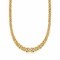 "18"" Shiny Polished Graduated Byzantine Chain Necklace Real 14K Yellow Gold"