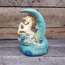 Vintage Unicorn Blue Moon Chalkware Plaster Carnival Prize Figure Figurine