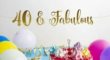 40 & Fabulous Banner Gold Mirror Banner 40th Birthday Backdrop 40 and Fabulous