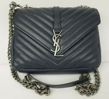 YSL Saint Laurent College Medium Crossbody Shoulder Bag Black Chrome