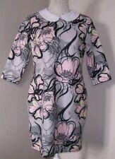 BNWT RIVER ISLAND GREY PRINT PETER PAN COLLAR DRESS THICK WINTER FABRIC UK 8 £44