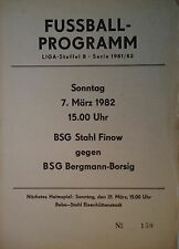 Programm 1981/82 Bergmann Borsig - Stahl Finow