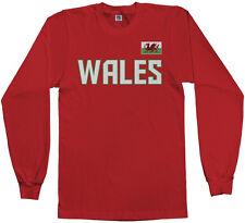 Threadrock Men's Wales National Team Long Sleeve T-shirt Welsh Soccer Flag