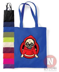 Pug hoodie dog tote bag canine fun shopping 100% cotton environmental