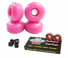 Blank Pro 52mm 99a Neon Pink Skateboard Wheels + Owlsome ABEC 7 Bearings