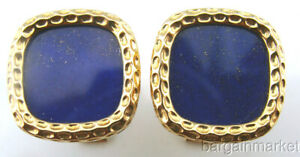 14K Yellow Gold Blue Lapis Lazuli Cufflinks