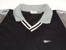 Vintage 90s Retro Reebok Shirt Casual Sports Top Black Silver Baggy Sleeve Sz XL
