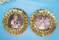 """Set of 2 Made in England Solid Brass Butterfly Frame Vintage Girls and Dog 6"""""""