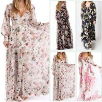 Women's Long Sleeve Maxi Dress Boho Floral Summer Party Beach Sundress HotCHK