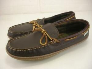 Men's 11 M L.L. Bean Handsewn Slippers Flannel-Lined Brown Leather Moccasins NEW