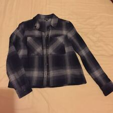 Womens Topshop Navy Checkered Cotton Crop Thick Shirt Jacket Cardigan Size 10
