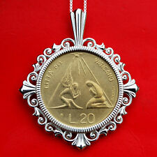 1983 Vatican 20 Lire BU Unc Coin 925 Sterling Silver Necklace - Radiant Dove