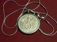 Necklace German 1939 5 Reichsmarks Coin Sterling Silver Chain 24""