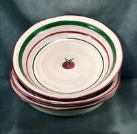 THREE Franciscan Apple Pie Pattern Soup/Salad Bowls Hand Painted Earthenware
