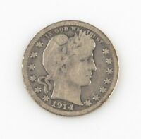 1914-S 25¢ Barber Quarter G+ Condition, Natural Color, Full Complete Rims VG Obv