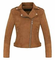 Women's Stylish Notched Collar Oblique Zip Suede Leather Moto Jacket - Coffee L
