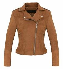 Women's Stylish Notched Collar Oblique Zip Suede Leather Moto Jacket - Coffee XS