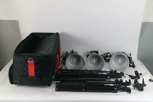 Smith-Victor Hotlight Kit Includes 3x Q80 Light 4x Raven RS 8 Tripods and Case