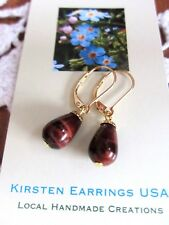 NEW EARRINGS Kirsten USA Made SM Red Tiger Eye Stone Drop Dangle Gold Leverbacks